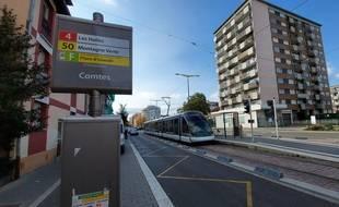 A l'arrêt de tram Comtes, dans le quartier Koenigshoffen à strasbourg.