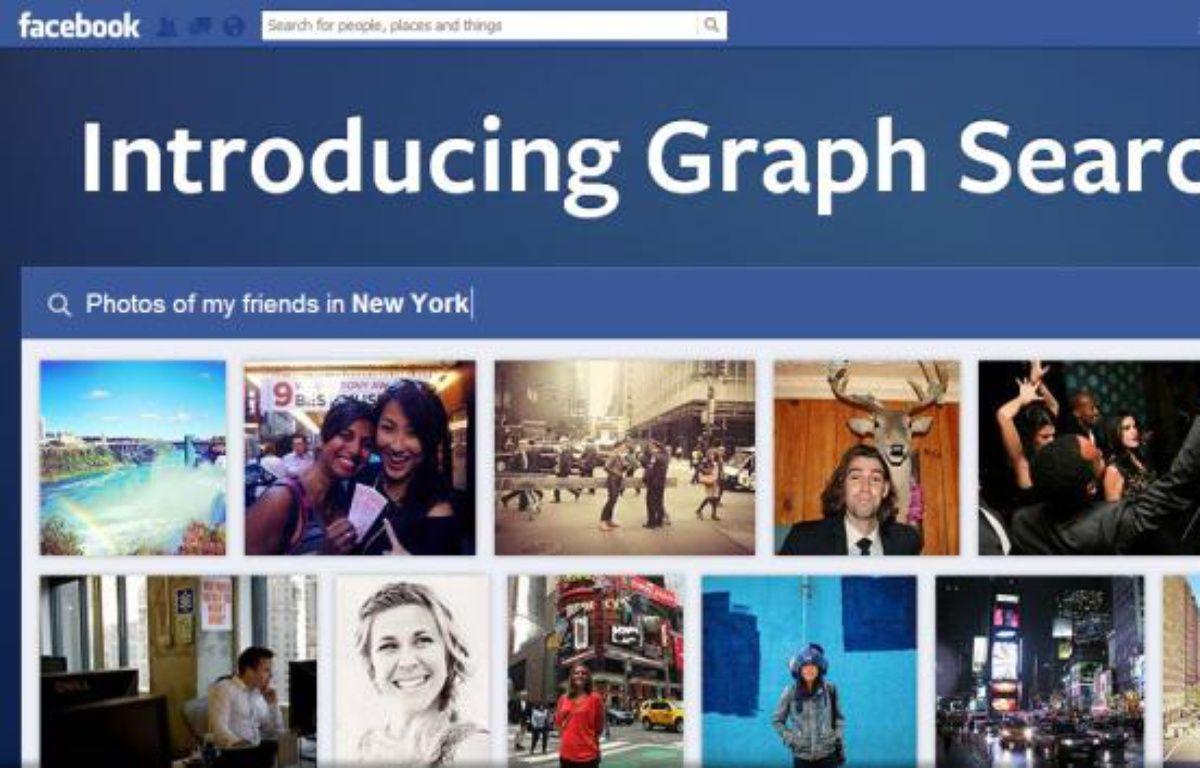 Facebook a dévoilé son nouvel outil de recherche sociale le 15 janvier 2013. – DR