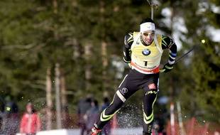 Martin Fourcade lors de la manche de Coupe du monde de biathlon d'Oslo, le 12 février 2015.