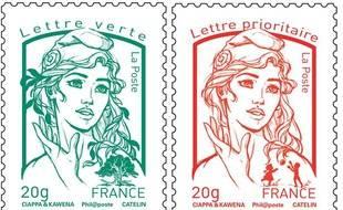 Photomontage des nouveaux timbres Marianne, présentés officiellement le 14 juillet 2013.