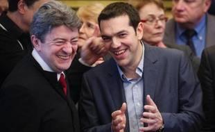 """Jean-Luc Mélenchon, coprésident du Parti de gauche (PG), a rencontré lundi le Grec Alexis Tsipras, leader du Syriza (gauche radicale), candidat à la présidence de la Commission européenne au nom de la gauche européenne, """"un modèle dans la façon de faire""""."""