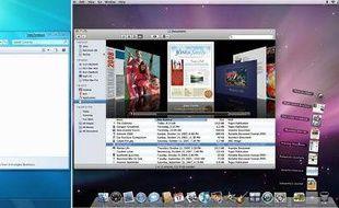Les bureaux de Windows 7 et Mac OS X Snow Leopard