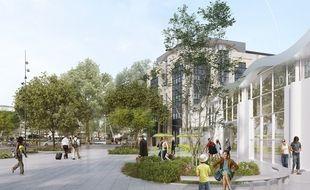 Image de synthèse du futur parvis sud de la gare de Nantes.