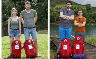 Les deux binômes finalistes de la saison 11 de  «Pékin Express» : Christina et Didier et Florian et Gabriel.