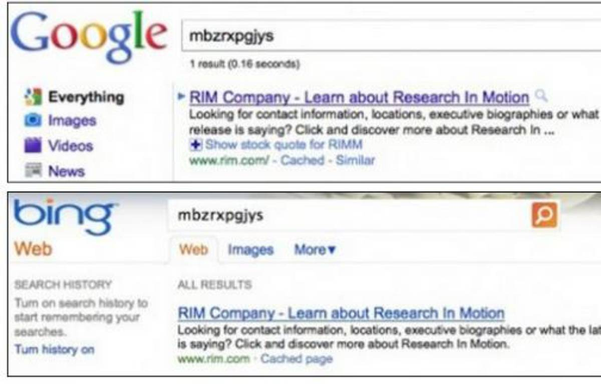 Deux recherches identiques sur Google et Bing. – DR