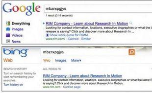 Deux recherches identiques sur Google et Bing.