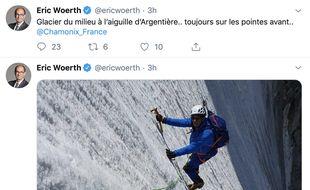 Eric Woerth, sur le sommet de l'Aiguille d'Argentière.