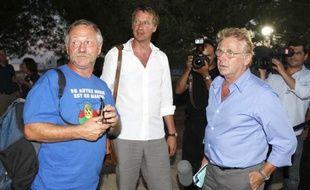 José Bové, Yannick Jadot et Daniel Cohn-Bendit aux Journées d'été de Nïmes, le 21 août 2009