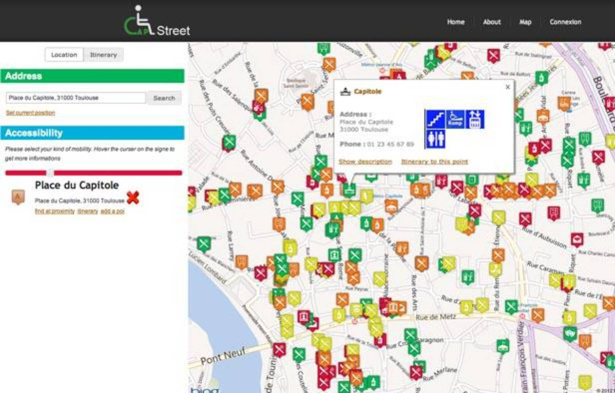 Capture d'écran du logiciel CapStreet, créé par quatre étudiants toulousains, Anthony Balitrand, Franck Boisgibault, Agathe Demnard et Arnaud Pouppeville. – CAPSTREET