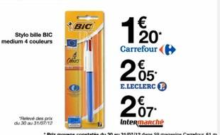 Capture d'écran d'une publicité Carrefour de 2012.