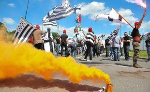 Des militants Bonnets Rouges lors d'une manifestation.