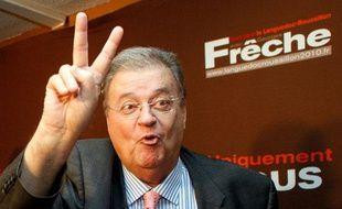 Georges Frêche, arrivé largement en tête du premier tour des régionales avec sa liste dans le Languedoc-Roussillon, le 14 mars 2010