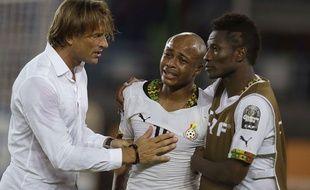 André Ayew en larmes après la défaite du Ghana contre la Côte d'Ivoire le 8 février 2015.