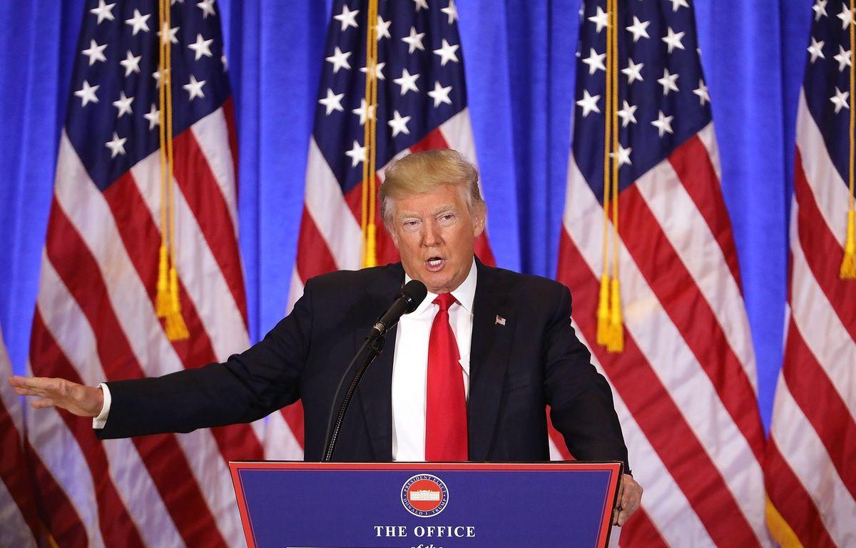 Donald Trump lors de sa première conférence de presse depuis son élection, le 11 janvier 2017. – AFP