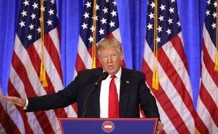 Donald Trump lors de sa première conférence de presse depuis son élection, le 11 janvier 2017.