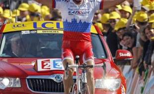 Serguei Ivanov, vainqueur de la 14e étape du Tour de France 2009, à Besançon, le 18 juillet 2009.