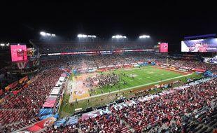 Lors de la remise du trophée du Super Bowl, à Tampa Bay le 7 février 2021.