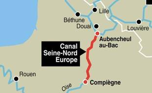 Le tracé du canal Seine-Nord Europe