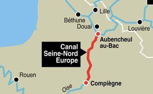 Le tracé du canal Seine-Nord Europe