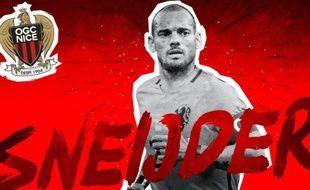 Wesley Sneijder a officiellement signé à Nice, le 7 août 2017 .