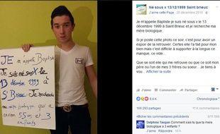 Né sous X, Baptiste a lancé un appel sur Facebook pour tenter de retrouver sa mère biologique.