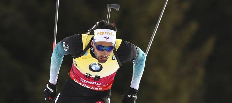 Martin Fourcade, lors du 20 km individuel aux Championnats du monde de biathlon à Antholz, le 19 février 2020.
