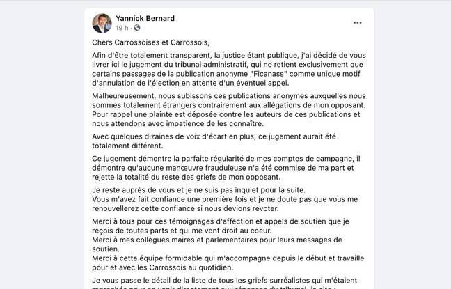 Capture d'écran du message Facebook de Yannick Bernard