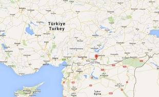 Carte d elocalisation dela ville de Suruç, en Turquie.