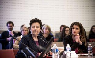 Frédérique Vidal et Marlène Schiappa à l'université Paris Dauphine, le 19 Mars 2018, pour lancer la campagne