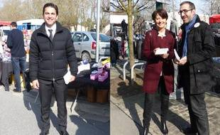 Arnaud Robinet, candidat UMP à la mairie de Reims, et Adeline Hazan maire PS de Reims , le 7 mars 2014.