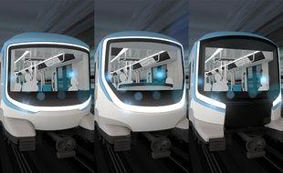 Les trois nez qui sont proposés au vote des Franciliens pour les futurs métros de les lignes 15, 16 et 17 du Grand Paris Express.