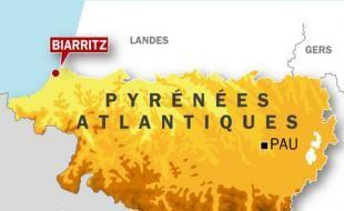 Carte de localisation de Biarritz, où deux égoutiers sont morts, emportés par une montée d'eau, le 2 décembre 2008