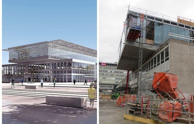 Image de synthèse de la mezzanine et vue du chantier de la gare de Nantes