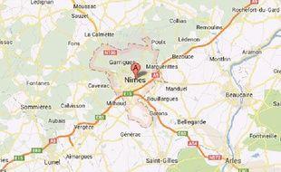 Région de Nimes, captured'écran Google maps