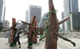 Des militants indonésiens pour la défense de l'environnement défilent à Jakarta, la capitale indonésienne, dans le cadre d'une campagne contre le réchauffement climatique, le 26 novembre. L'Indonésie accueille la 13e conférence des Nations unies sur le changement climatique à Bali.