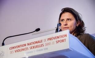 Roxana Maracineanu lors de la convention nationale sur les violences dans le monde du sport, le 22 février 2020.