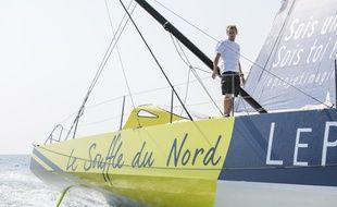Thomas Ruyant à bord de son bateau