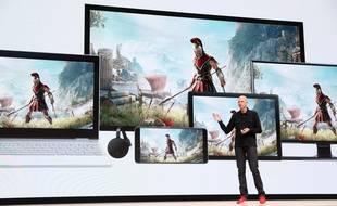 Phil Harrison, vice-président de Google en charge des jeux vidéo, présent le service de streaming Stadia, le 19 mars 2019.