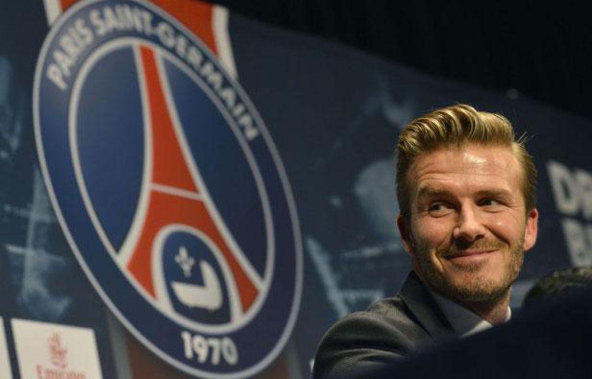 David Beckham lors de sa conférence de presse de présentation, le 31 janvier 2013 – Benjamin Girette/AP/SIPA