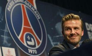 David Beckham lors de sa conférence de presse de présentation, le 31 janvier 2013