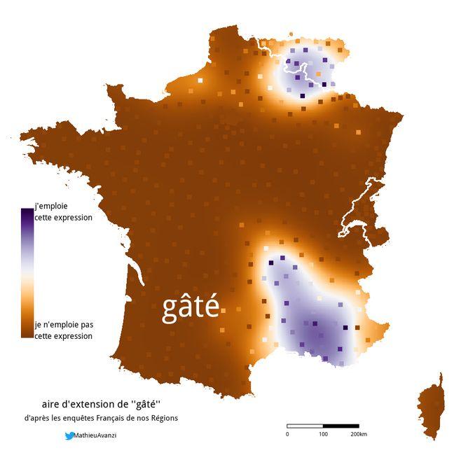 L'enquête menée par le blog Français de nos régions donne la localisation du mot gâté.