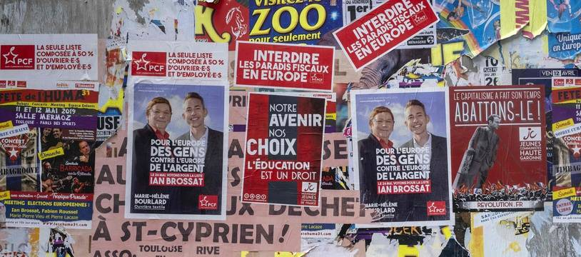 Des affiches électorales pour les élections européennes (illustration).