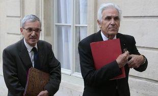 Stéphane Mantion, directeur général, et Jean-Jacques Eledjam, président de la Croix Rouge française à l'Elysée le 9 septembre 2013