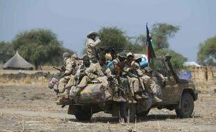 Photo prise le 26 janvier 2014 montre des soldats gouvernementaux sud-soudanais dans un pick-up près d'un village à Bor