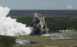Test des moteurs de la fusée SLS de la Nasa le 18 mars 2021 dans le Mississippi.