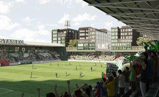 Vue du futur stade Bauer, antre du Red Star, à Saint-Ouen (Seine-Saint-Denis).