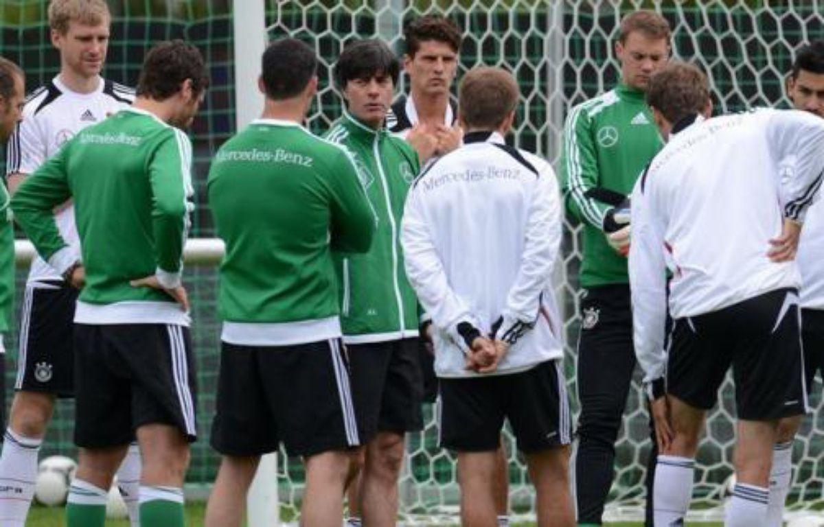 """L'Allemagne et les Pays-Bas, deux des favoris de l'Euro-2012 versés dans le """"groupe de la mort"""", vont se tester samedi face aux deux outsiders, respectivement le Portugal et le Danemark, qui rêvent de frapper un grand coup pour la première journée du groupe B – Patrik Stollarz afp.com"""