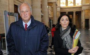 Patrice de Maistre accompagné de son avocate Jaqueline Laffont, arrive au tribunal de Bordeaux le 24 mars 2015
