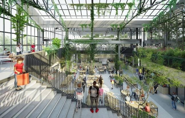 Vue intérieure du futur food hall de Nantes depuis l'étage.