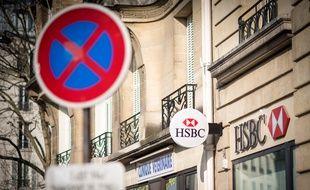 (Illustration) Une agence bancaire HSBC, le 22 février 2019, à Paris (12e), place de la Nation.